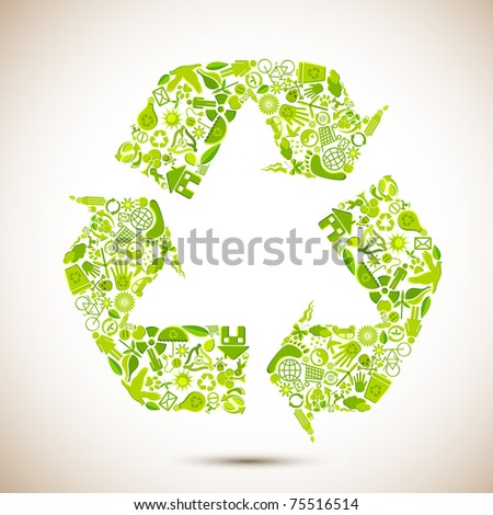 illustration of recycle symbol formed by many recycle item - stock vector