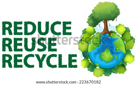 Illustration of recycling sign - stock vector