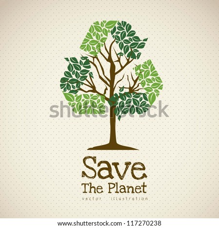 Illustration of recycling with ecological icons, Save the Planet. vector illustration