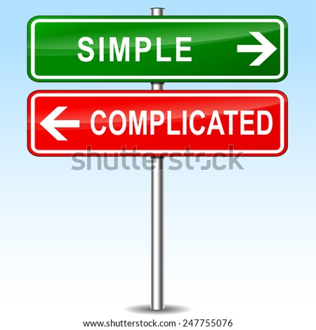 illustration of red and green signs for simple and complicated - stock vector