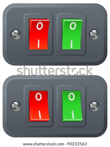 Illustration of red and green switches in on and off positions