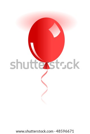 Illustration of  red ballon isolated on white - stock vector