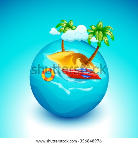 illustration of red boat island with clouds on planet on blue background - stock vector