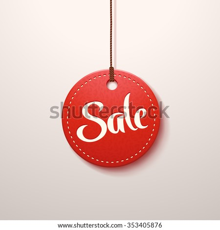 illustration of red color paper sale label with shadow - stock vector