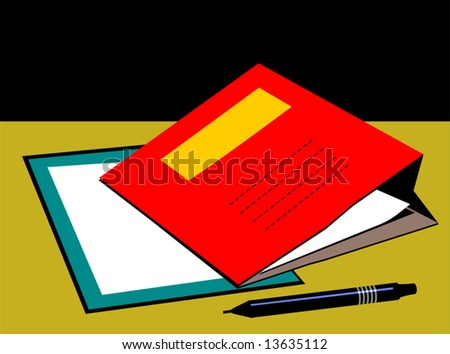 Illustration of red colour folder and pen - stock vector