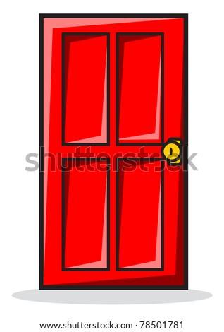 illustration of red door - stock vector