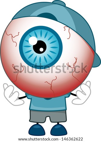 Illustration of Red-Eyed Eyeball Mascot wearing Blue Shirt, Cap, and Shoes - stock vector