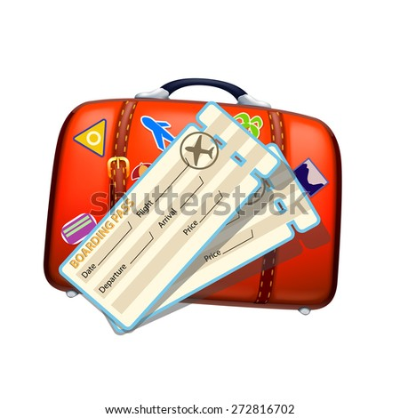 illustration of red old suitcase and tickets on white background - stock vector