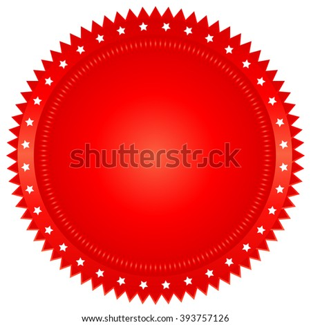 illustration of red seal on white background - stock vector