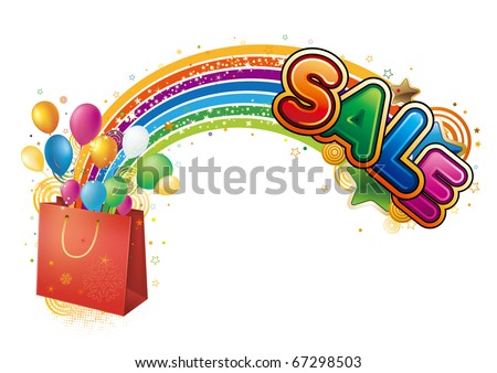 illustration of red shopping bag with sale poster - stock vector