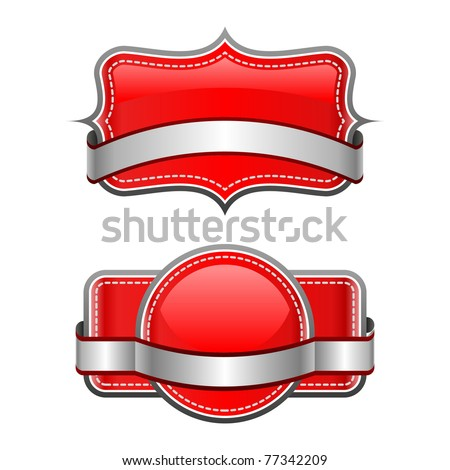 Illustration of red stickers on white background - stock vector