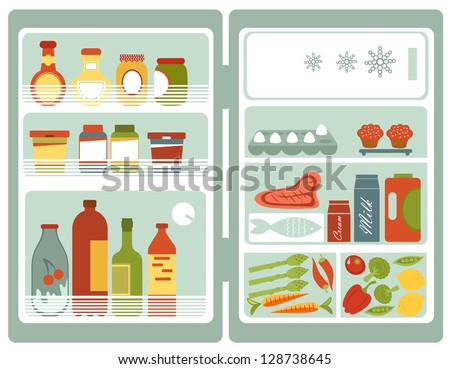 Illustration of refrigerator full of food and drinks