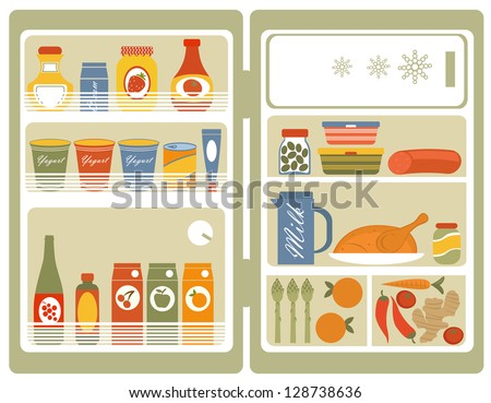 Illustration of Refrigerator with food and drinks - stock vector