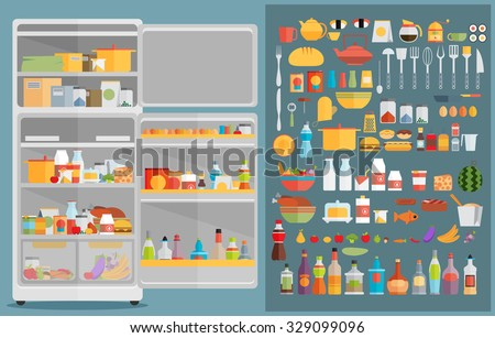 Illustration of Refrigerator with food,drinks and kitchenware - stock vector