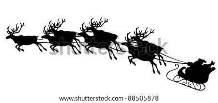 illustration of reindeer pulling Santa`s sled - stock vector
