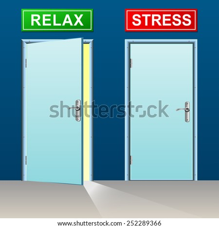 illustration of relax and stress doors concept