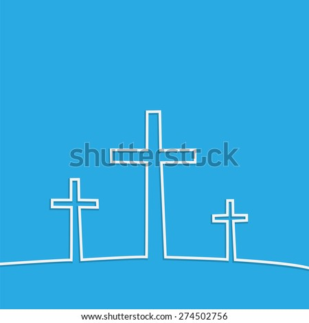 Illustration of religious crosses against a colorful background. - stock vector