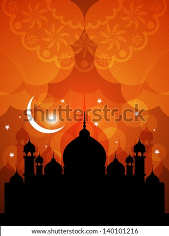 illustration of religious eid background design with mosque. - stock vector