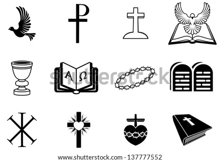 Illustration of religious signs and symbols from Christianity - stock vector