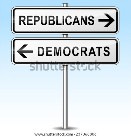 illustration of republicans and democrats directions sign - stock vector