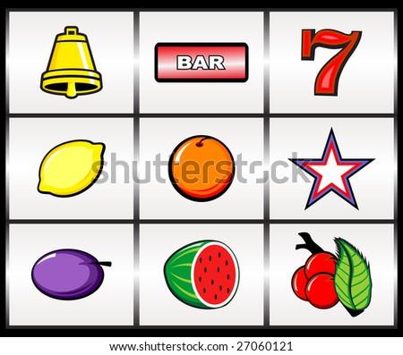 Illustration of rerto slot machine icons - stock vector