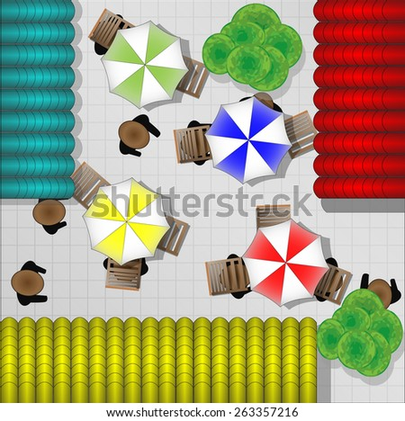 Illustration of restaurants with chairs and parasols from above - stock vector
