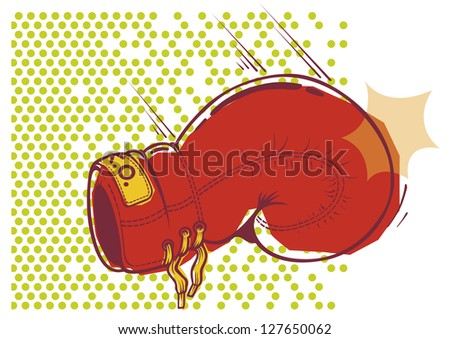 Illustration of resting glove on dotted background - stock vector