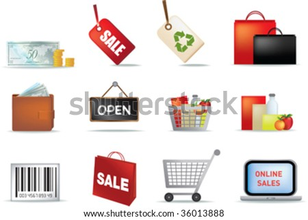 illustration of retail coloured detailed icon set - stock vector