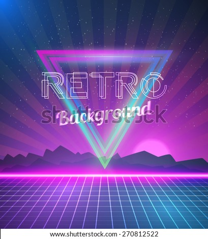 Illustration of Retro Disco 80s Neon Poster made in Tron style with Triangles, Flares, Partickles - stock vector