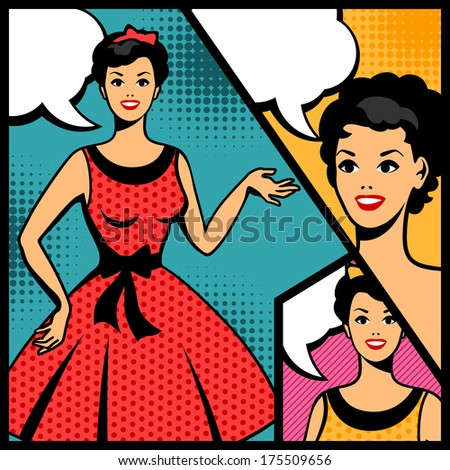 Illustration of retro girl in pop art style. - stock vector