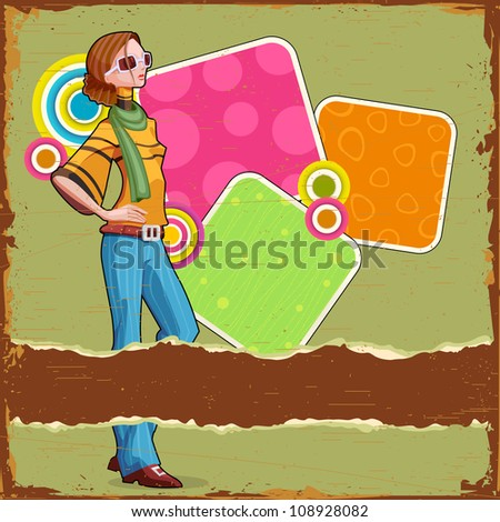 illustration of retro lady with colorful background