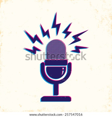 illustration of retro microphone and loud sound - stock vector