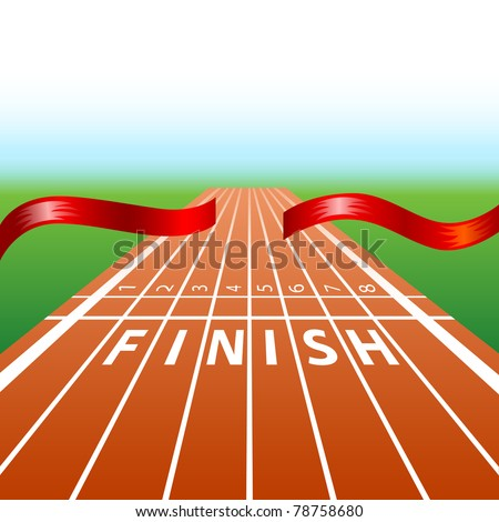 illustration of ribbon in finishing line with racing track - stock vector