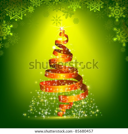 illustration of ribbon in shape of christmas tree - stock vector