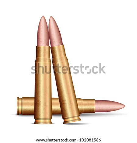 illustration of rifle bullet on white background - stock vector
