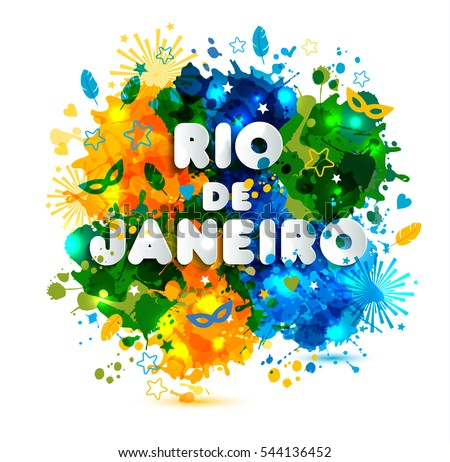 Illustration Of Rio De Janeiro From Brazil Vacation On Watercolor Stains Colors The Brazilian