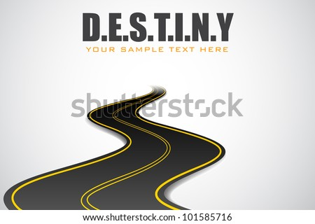 illustration of road in motivational destiny background - stock vector