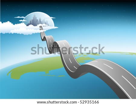 Illustration of road to modern city - stock vector