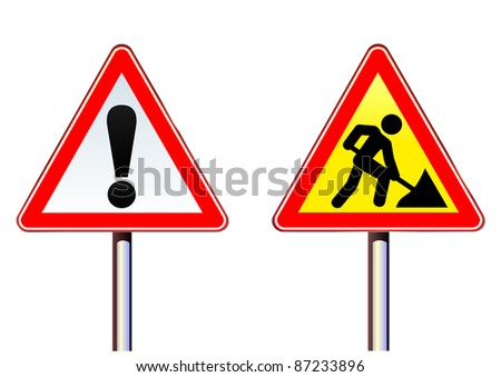 Illustration of road warning sign and roadworks sign on rod. Set. Arbeiten. Attention. Autobahn. Danger. Shadow. Vector. - stock vector