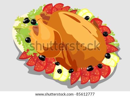 illustration of roasted holiday turkey on platter with garnish - stock vector