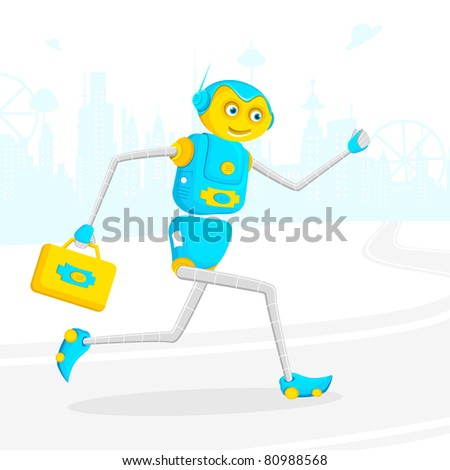 illustration of robot running with briefcase on road - stock vector