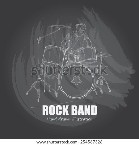 illustration of rock band. drum - stock vector