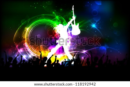 illustration of rock dancer performing in public - stock vector