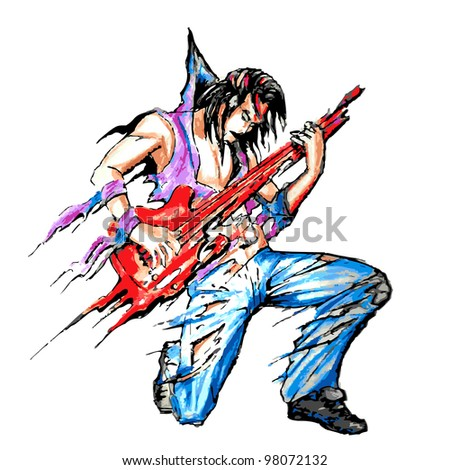 illustration of rock star with guitar in painting style - stock vector