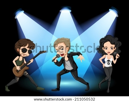 Illustration of rock stars on stage - stock vector