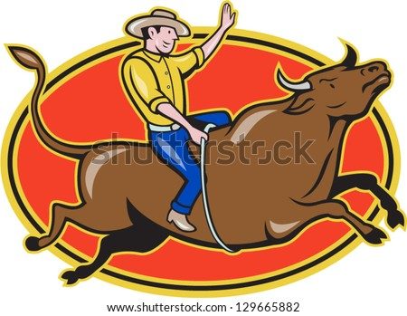 Illustration of rodeo cowboy riding bucking bull on isolated white background