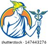 Illustration of Roman god Mercury patron of financial gain, commerce, communication and travelers wearing winged hat holding caduceus a herald's staff with entwined snakes inside circle retro style. - stock vector