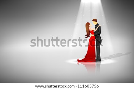 illustration of romantic couple standing in spot light - stock vector
