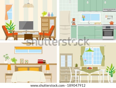 Illustration of room - stock vector