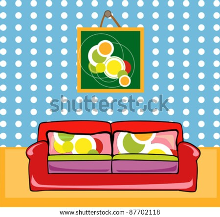 Illustration of room with painting and stylish red sofa - stock vector